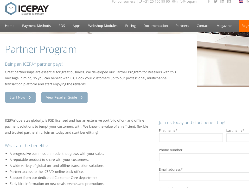 ICEPAY Partner page